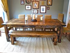 Want this dining room table and like the gallery wall behind it!!