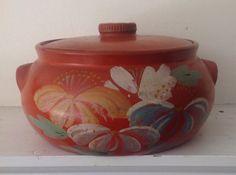Vintage Orange Red Stoneware Pottery Cracker Jar by MulfordCottage
