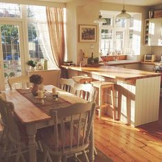 Country style kitchen with cream units. Garden trading pendent lights over the b… Country style kitchen with cream units. Garden trading pendent lights over the breakfast bar. Country Style Kitchen, Rustic Light Fixtures, Dining Room Windows, New Homes, Kitchen Styling, Country Style Homes, Country House Decor, Rustic Kitchen Lighting, Kitchen Design