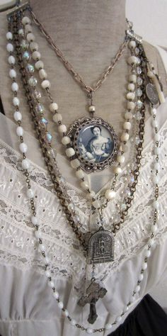 A Mother's Love - vintage assemblage layered rosary necklace with catholic pendants