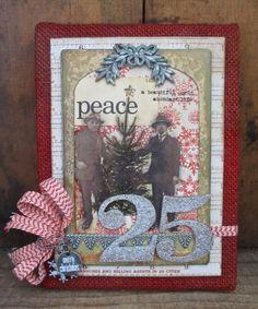 Christmas Burlap Panel by Paula Cheney