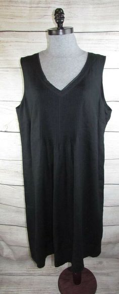 7ecd23dc448 J. Jill 2X XXL womens Dress18W 20W flax Linen BLACK sleeveless Embroidered  Hem  JJill