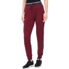 Tommy Hilfiger Casual Trouser (€62) ❤ liked on Polyvore featuring pants, maroon, training pants, straight leg pants, maroon pants, drawstring trousers and straight leg trousers