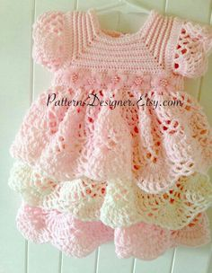 Baby Knitting Patterns Dress Months Crochet Baby Layers Dress Baby Dress Layers by SuziesTalentPatterns…This Months Crochet Baby Layers Dress Baby Dress is just one of the custom, handmade pieces you'll find in our patterns & how to shops. Crochet Bebe, Baby Girl Crochet, Crochet Baby Clothes, Crochet For Kids, Crochet Baby Dresses, Crochet Girls Dress Pattern, Easy Crochet, Baby Dress Patterns, Baby Knitting Patterns