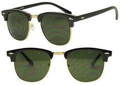 6d0daa8e78 Round Half Frame Gold Silver Clubmaster Style UV400 Gradient Lens Sunglasses  Casual Unisex Half Rim 80 s
