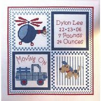 Moving On Counted Cross Stitch Baby Birth Record Kit includes