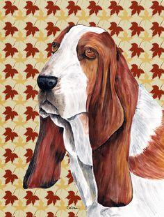 Basset Hound Fall Leaves Portrait 2-Sided Garden Flag