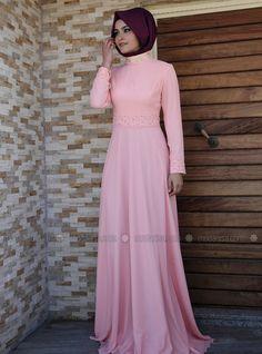 Chiffon Evening Dress - Blush - Melek Konat