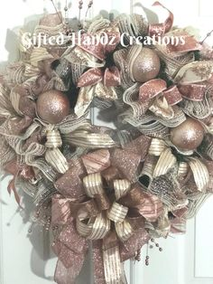 Whimsical Rose Gold and Champagne Wreath Christmas Wreath image 1 Christmas Wreath Image, Rose Gold Christmas Decorations, Gold Christmas Ornaments, Pink Christmas, Holiday Wreaths, Christmas Crafts, Christmas 2019, Gold Wreath, Christmas Inspiration