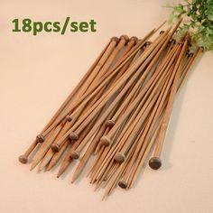 18pcs/set Bamboo Knitting Needles Set Straight Needle For Hand Knitting Merino Wool Yarn Tools Diy Hand Tool Needle Wood