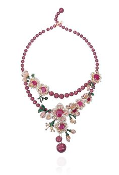 Mirari (New Delhi) – Zambian emerald, Mozambican ruby and diamond earrings and necklace set in 18k pink and white gold. For Gemfields / Project Nanhi Kali.