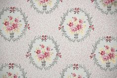 1950's Vintage Wallpaper - Floral Wallpaper with Pink Roses in Baskets on White with Metallic Gold