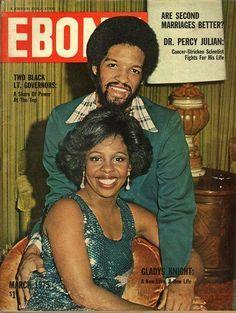 Ebony March 1975 with Gladius Knight and new husband. Jet Magazine, Black Magazine, Vibe Magazine, Ebony Magazine Cover, Magazine Covers, Vintage Black Glamour, Vintage Tv, Vintage Magazines, Vintage Vibes