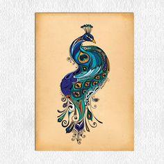 Items op Etsy die op Peacock Art Print lijken