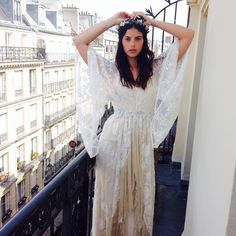 Another behind the scenes pic from our shoot in #Paris. @monsieurgaudy #cleogown #younglovecollection