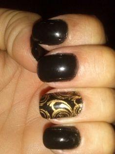 Black, decor, nail, unhas, pretas