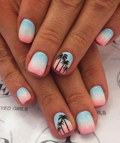 70 Vivid Summer Nail Art Designs and Colors 2018