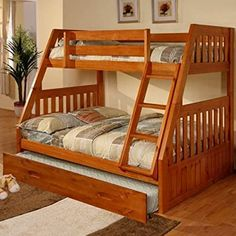 Discovery World Furniture Honey Bunk Bed Twin/Full Mission with Twin Trundle Bunk Beds Small Room, Cool Bunk Beds, Kids Bunk Beds, Small Rooms, Staircase Bunk Bed, Bunk Beds With Stairs, Childrens Bunk Beds, Bunk Bed Plans, Loft Spaces