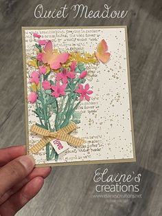 Learn how to make this card with Stampin' Up!'s Quiet Meadow stamp set and Meadow Dies in this video tutorial! Fun Fold Cards, All Paper, Stampin Up, Card Making, Paper Crafts, Flowers, Tissue Paper Crafts, Paper Craft Work, Stamping Up