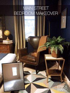 Dark bedroom gets stylish masculine makeover by Erika Ward Interiors