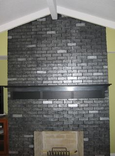 Metallic Painted Brick This summer I'm going to paint my fireplace like this. by beckylowe Painted Brick Fireplaces, Paint Fireplace, Fireplace Remodel, Black Brick Fireplace, Brick Wall, Home Renovation, Home Remodeling, Faux Painting Techniques, Painting Tips