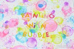 This fun activity for kids uses colorful bubbles as paint! Kids will love using straws and other creative ways to paint with bubbles. Fun, imaginative art for spring and summer! #outdoorfun #easyart #bubbles