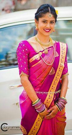 Latest embroidery blouse designs 2019 - New Blouse Designs Simple Blouse Designs, Bridal Blouse Designs, South Indian Bride, Indian Bridal, Kerala Bride, Hindu Bride, Look Short, Saree Blouse Patterns, Blouse Models