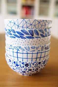 For this task I wanted to focus on something we use in the dining room daily. I have a weakness for ceramics, so tried my hand at some DIY painted bowls!