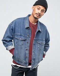 ASOS – Oversize-Jeansjacke in verwaschenem Blau