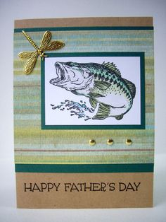 happy father's day card handmade bass card by JDooreCreations