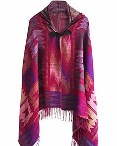 Women Bohemian Collar Plaid Cape Cloak Poncho Jacket Coat Shawl Scarf Violet * Find out more about the great product at the image link.