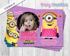 Girl MINION photo invitation, Despicable Me photo invite, Minions card for Despicable Me birthday party - DIY Printable (4x6)