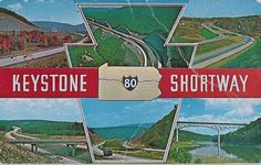 The KEYSTONE SHORTWAY , Interstate 80, between Sharon and Stroudsburg, Pennsylvania, 313 miles, 53 interchanges and 486 bridges, gives good access to many of the state parks and recreational areas as well as the shortest route across the state.