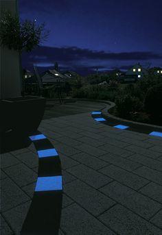 Glow-in-the-dark pavers/ concrete walkway ideas Paver Path, Concrete Walkway, Outdoor Spaces, Outdoor Decor, Outdoor Ideas, Backyard Projects, Backyard Ideas, Pool Decks, Yard Design
