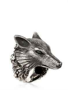 "Ugo Cacciatori silver ""wolf ring."""