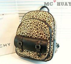 usd29.99/Vintage Street Style Leopard Print  Backpack