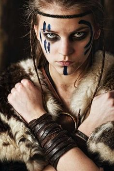 Viking Makeup, Viking braids and War paint Warrior Girl, Warrior Princess, Viking Warrior Woman, Tribal Warrior, Warrior Women, Fantasy Characters, Female Characters, Viking Makeup, Warrior Makeup
