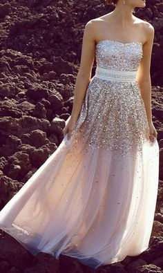 Strapless sequinned gown with beautiful belt