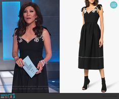 Julie's black pearl embellished dress on Big Brother Cutout Dress, Embellished Dress, Lace Dress, Big Brother Style, Scalloped Dress, Bow Blouse, Asymmetrical Tops, Julie Chen, Fashion Outfits