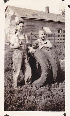 Farm Boys with Ice Cream Cones Tractor Tires by EphemeraObscura, $3.50