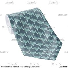 Shop Blue Ice Posh Poodle Teal Gray Neck Tie created by LeonOziel. Custom Ties, Unique Image, Poodle, Night Out, Teal, Ice, Gifts, Color, Design