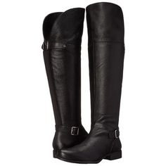Naturalizer July (Black Leather) Women's  Boots (375 BRL) ❤ liked on Polyvore featuring shoes, boots, black, over-the-knee boots, black knee high boots, over the knee leather boots, black thigh high boots, black leather knee high boots and black platform boots