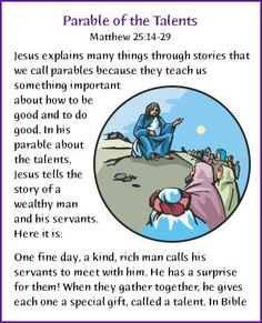 Matthew Bible, Parable Of The Talents, Ss Lesson, Kids Talent, Parables Of Jesus, Bible Stories For Kids, Bride Of Christ, Bible Lessons, Sunday School