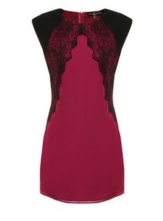 Raspberry and black lace dress