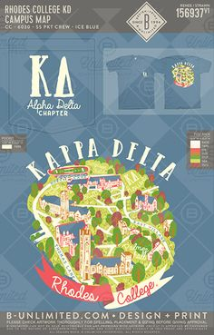 Rhodes College KD Campus Map #BUnlimited #BUonYOU #CustomGreekApparel #GreekTShirts #Fraternity #Sorority #GreekLife #TShirts #Tanks #TShirtIdeas #KappaDelta #KayDee #KD #RhodesCampus #CampusMap #CollegeMap #Map #Campus