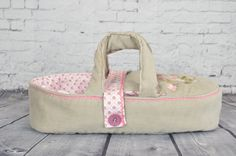 doll carrier doll bed for children - bassinet, READY TO SHIP - doll bed - for dolls puppets soft animals- beige pink - hand embroidered by BagitKid on Etsy Doll Carrier, Kid Beds, Bassinet, Puppets, Your Child, Ship, Beige, Dolls, Unique Jewelry