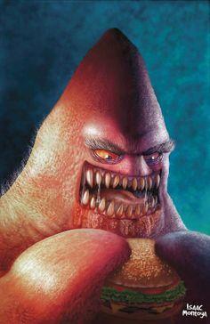 "Creepy Realistic ""Patrick Star"" by Isaac Montoya Carrasco // Sponge Bob SquarePants Arte Horror, Horror Art, Cartoon Kunst, Cartoon Art, Evil Cartoon Characters, Realistic Cartoons, Dark Disney, Alternative Art, Patrick Star"