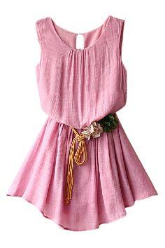 ROMWE | ROMWE Split Belted Sleeveless Sheer Pink Dress, The Latest Street Fashion