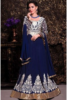Blue Georgette Long Length Anarkali Suit - Glowindian