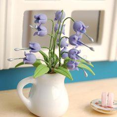 GBP - Dolls House Miniature Plant Flower Convallaria Majalis Purple Lily W/ Vase Purple Bell Flowers, Purple Lily, Fairy Garden Plants, Lily Garden, Miniature Plants, Miniature Fairy Gardens, Vases For Sale, Garden Ornaments, Ceramic Vase